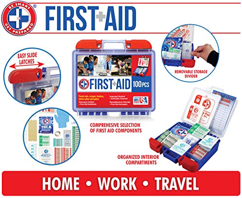 51tfph3DnQL - Be Smart Get Prepared 10HBC01082 100Piece First Aid Kit, Clean, Treat & Protect Most Injuries With The Kit that is great for Any Home, Office, Vehicle, Camping & Sports. 0.71 Lb