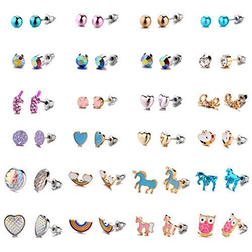 24 Pares de Pendientes Lindos Aretes Unicornio Arco Iris Búho Corazón Cristal Juego de Pendientes Variados Pendientes de Botón para Mujer Niñas