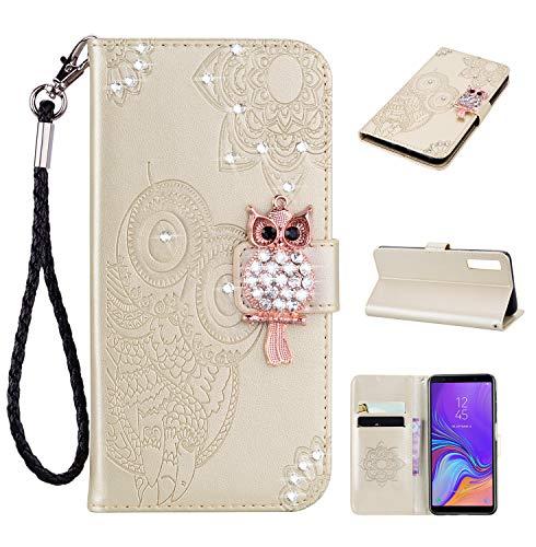 Artfeel Glitzer Diamant Brieftasche Hülle für Samsung Galaxy A7 2018/A750, Geprägt Eule Blume Leder Flip Kartenhalter Hülle,3D Bling Strass Magnetverschluss mit Handschlaufe Stand Handyhülle-Gold