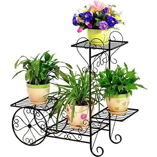 Udfybre 4 Niveaux métal Plante Plateau Panier de Jardin Panier de Fleurs Support de Pot Pot bonsaï avec présentoirs Charge jusqu'à 77lbs (Color : Black)