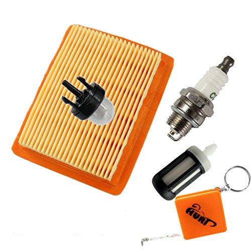 HURI Luftfilter + Zündkerze + Primer Pumpe + Benzinfilter passend für Stihl FS120 FS200 FS250 FS300 FS350 FS400 FS450 BT120 BT120C FR350 FR450# 4134 1410 300