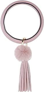 Wristlet Key Bracelet Round Keychain, Tassel Pom Pom Boho Big O Key Ring for Women Girl