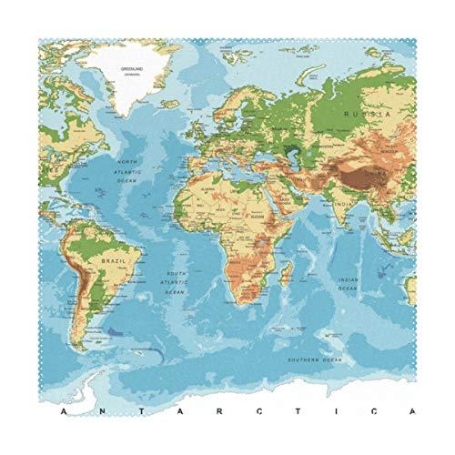 Manteles individuales, mapa físico del mundo, 30,5 x 30,5 cm, una pieza, resistente al calor, antideslizante, para mesa de comedor, poliéster y mezcla de poliéster, Image 220, 12x12x1(in)