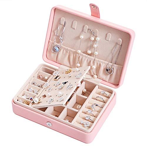 Portagioie da viaggio in pelle PU, da donna, piccola valigetta per gioielli, per anelli, bracciali, orecchini, collane, fodera in velluto, colore arancione rosa