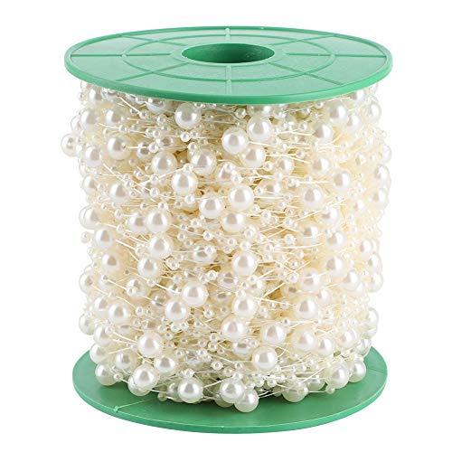 Stringa di perline di perle per artigianato, ghirlanda di perline di perle di perle per decorazioni di matrimoni e feste 65,6 yarde(Beige)