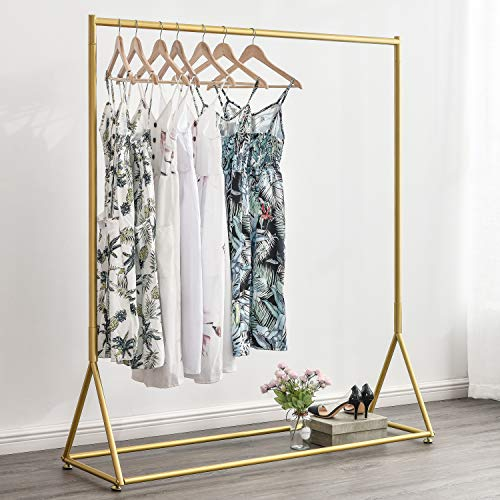 BOSURU Modern Clothes Rack Retail Display Clothes Rack Freestanding Garment Rack Easy Assemble Clothing Rack for Bedroom or Boutiques Gold 59 L