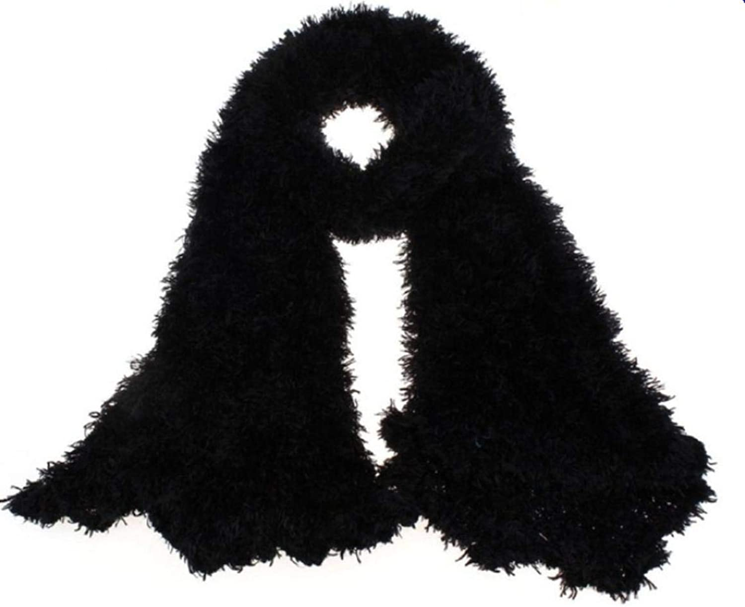 Women's Winter and Autumn Warm Thick Scarf Fashion Multi Function Scarf Simple Black Wool Casual Wild Women