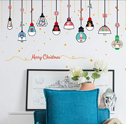 JHLP Kerstmis kroonluchter muursticker etalage glazen deur wand DIY Home Decor Nieuwjaar kerstdecoratie sticker 45x60cm