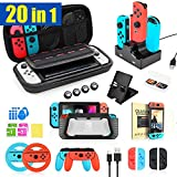 TechKen 20 in 1 Zubehör Set für Switch, Tragbare Zubehörset Gaming Accessories für Switch Bundle Box Paket Tasche für Nintendo Switch Konsole und Joy-Con Controller