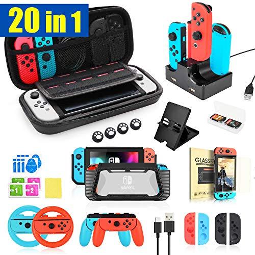 TechKen 20 in 1 Zubehör Set für Switch, Tragbare Zubehörset Gaming Accessories für Switch Bundle Box Paket Tasche für Nintendo Switch Konsole und Joy-Con Controller