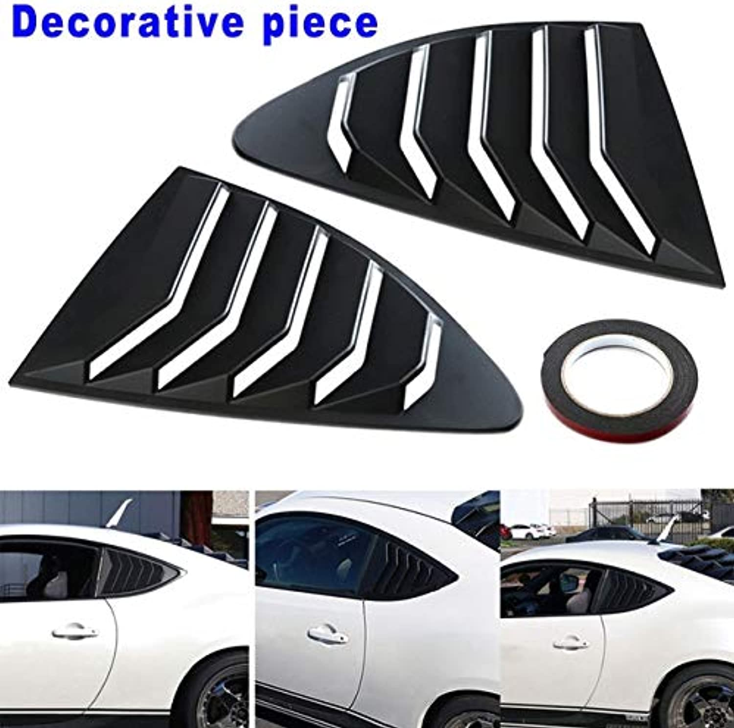 2pcs Car Window Rear Louver Cover Panel 1 Double Sided Tape for Toyota 86 M8617  (color Name  Black)