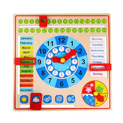 Tooky Toy Holz Jahresuhr für Kinder - Lernuhr, Wochentage, Monate, Jahreszeiten und das Wetter erlernen - ca. 30 x 30 x 5 cm - geeignet ab 36 Monaten (Englisch)