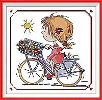 クロスステッチ刺繍キットスタンプ済み刺繍スターターキット初心者手作り針仕事自転車図柄印刷11CT刺しゅうクロスステッチ工芸品大人の子供刺繍ホリデーギフトDIYアート家の装飾贈り物40x50cm