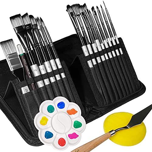 Pennelli da Pittura Set-20 pcs, Pennelli per Dipingere, Artista Pennello Set di Acrilico Acquerello e Pittura ad Olio per Principianti, Adulti, Bambini, Artisti e Amanti della Pittura