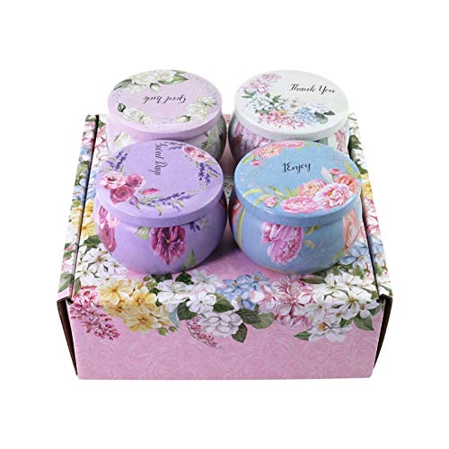 ZLNB Aromatherapy Essential Oil Candle, Color Boxed Essential Oil Incense Soy Oil Horse Mouth Iron Box Fragrance Sprinkle Coconut Wax Fragrance Candle 4 Set, give Mother, Girlfriend's Best Gift
