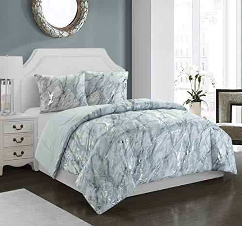 pop shop Marble 3 Piece Comforter Set, Full/Queen, Silver