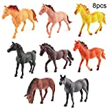 SunYueY 8Pcs Mini Realistic Horse Animal Plastic Model Figurine DIY Farmland Scene Toy, Intelectual Toy Gift Set