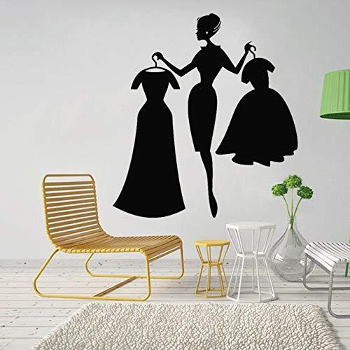 KBIASD Shop Wall Decal Fashion Girl Shopping Clothing Store Interior Decor Dresses Vinyl Window Stickers for Girls Bedroom Decoration 57x62 cm