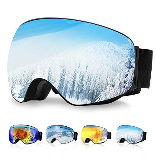 OMORC Gafas de Esquí, Gafas Snowboard, Unisex, Lente de Doble Capa, Protección UV y Antiniebla OTG Gafas de Esquí, Sistema de Ventilación, Ideal para Esquí, Patinaje, Motociclismo - Azul