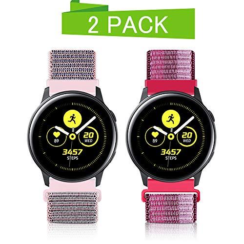 20mm Liberación Rápida Correa De Reloj para Samsung Galaxy Watch 42mm/Active2 44mm 40mm /Gear Sport/Gear S2 Classic/Garmin Vivoactive 3, Nylon Deporte Bandas Reemplazo Pulsera (20mm, Arena Rosa+Baya)