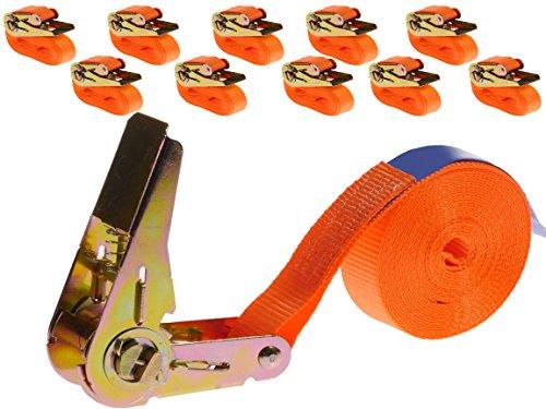 INDUSTRIE PLANET 10 Stück 800kg 4m Spanngurte mit Ratsche Einteilig 1 teilig Zurrgurte Ratschengurte 25mm orange 800 Dan 0,8t