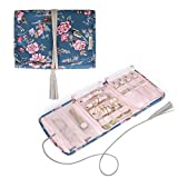 BAGSMART Travel Jewelry Organizer Case Foldable Floral Jewelry Roll with tassel for Journey-Rings, Necklaces, Earrings, Bracelets