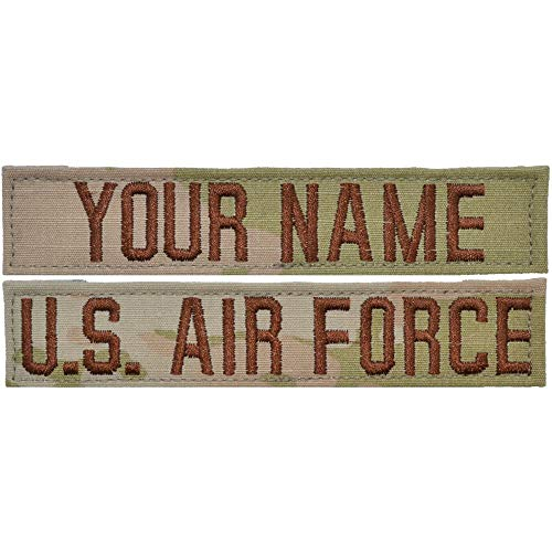 Custom 2 Piece USAF 3-Color OCP Name Tape with Hook Fastener