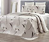 GrandLinen 3-Piece Fine Printed Oversize (115' X 95') Quilt Set Reversible Bedspread Coverlet King Size Bed Cover (Taupe, Brown, White Tulip Floral)