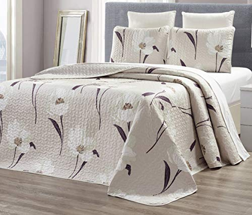 GrandLinen 3-Piece Fine Printed Oversize (115 X 95) Quilt Set Reversible Bedspread Coverlet King Size Bed Cover (Taupe, Brown, White Tulip Floral)