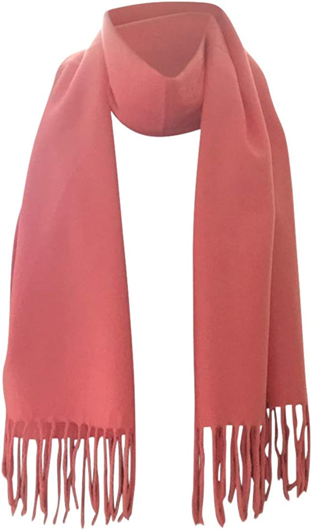 Memory Wear 100% Cashmere Plain Style Scarf, Super Soft Bright Pink,12in x 70in