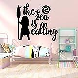 wZUN El mar Divertido está Llamando Texto Pegatinas de Pared de Dibujos Animados habitación de los niños del Cuarto de niños Arte de la Pared Mural 28X30cm
