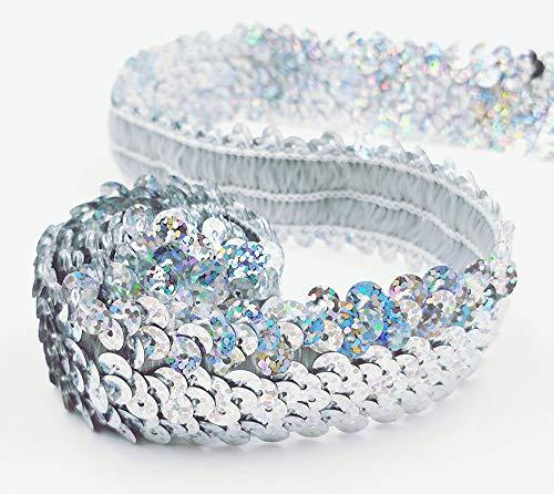 RAILONCH 10Yard*3cm DIY Glänzendes Paillettenband, Paillettenbänder, Pailletten für DIY Hochzeit Handwerk Basteln (Laser Silber)