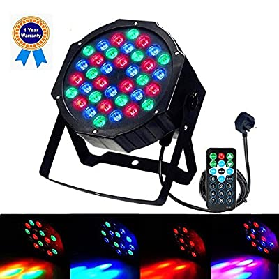 LED Par Lights GLIME Stage Lights Disco Lights 36W RGB 36LEDs DJ Strobe Lights Sound Activated Projector with Remote Control for Parties Light Show KTV Dance Birthday Wedding