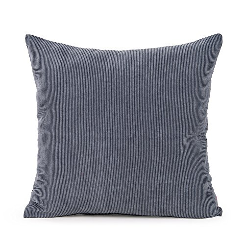 baibu Corduroy Decor Solid Pillow Cover (8 Colors and 8 Sizes) Multi Size Cushion Cover for Sofa Dark Grey 65x65 cm / 26x26 inch
