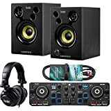 Hercules DJ Starter Kit 2 Deck USB DJ-Controller Set inkl Boxen auriculares + KEEPDRUM Audio-Kabel