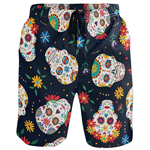 visesunny Colorful Sugar Skull Print Hawaii Summer Men's Swim Trunks Quick Dry Bathing Suits Beach Holiday Party Swim Shorts