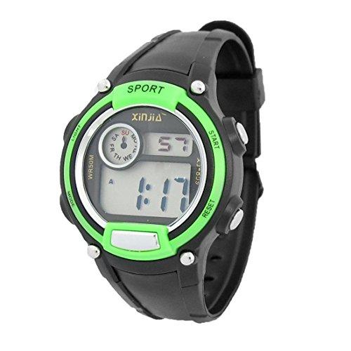 LCD Pantalla niño Cronómetro Reloj despertador del reloj del deporte Negro Verde