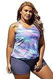 SMUDGE Life Women's Stripes Print Blouson Tankini Set Two Piece Swimsuit,Blue(US 18-20) XXL