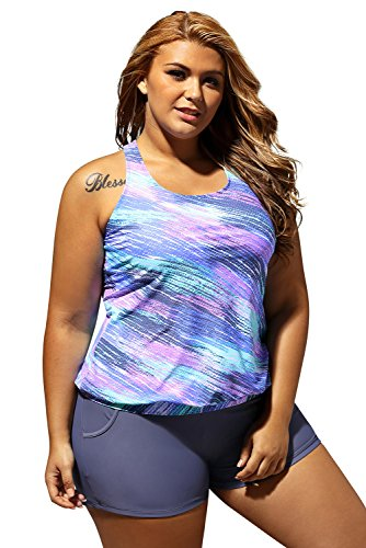 Women's Stripes Print Blouson Tankini Set Two Piece Swimsuit, Blue, (US 22-24) XXXL