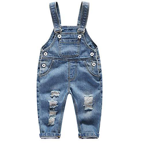 Feoya FEOYA Junge Mädchen Baby Latzhose Overall Denim Lange Hose mit Hosenträger Loch Jeans Einteiler Jumpsuit