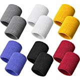 12 Pieces Sweatbands Sports Wristband Sweat Band for Men and Women, Good for Tennis, Basketball, Running, Gym, Working Out (Black, Red, White, Light Yellow, Lake Blue, Gray)