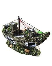 N\O Decoración de plástico de resina sintética de barco pirata hundido, decoración de acuario