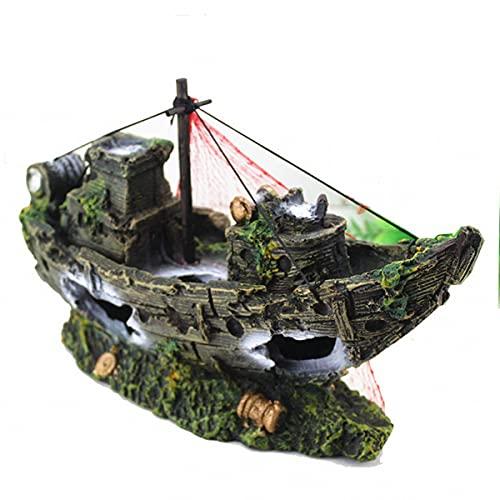 N\O Decoración de resina de plástico artificial, diseño de barco pirata hundido