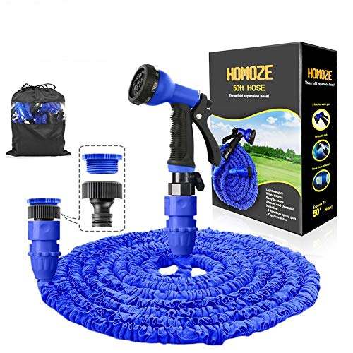 """HOMOZE Expandable Garden Hose Pipe 50FT Garden Hose with 3/4"""", 1/2"""" Fittings, Anti-leakage Flexible Expanding Hosepipe with 8 Function Spray Nozzle (Blue)"""