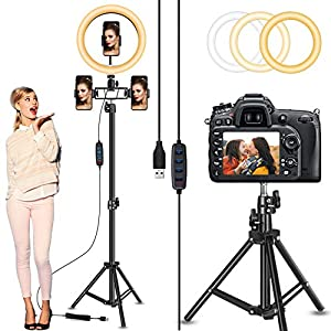 """Circle Light, Selfie Ring Light with 82"""" Stand and 3 Phone Holders, 10"""" Led Ring Light Tripod with Ultra-Wide Lighting Area for Camera Photography/Video Recording/Makeup/Live Stream/Tiktok/YouTube by LByzHan"""