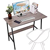 Viewee Computer Desk, Easy Assembly, Laptop Study Table 39' Writing Desk, Home Office Desk with Wood Block Support, Trapezoidal Structure Modern Student Desk, Brown (Gift: Table Edge Protectors)