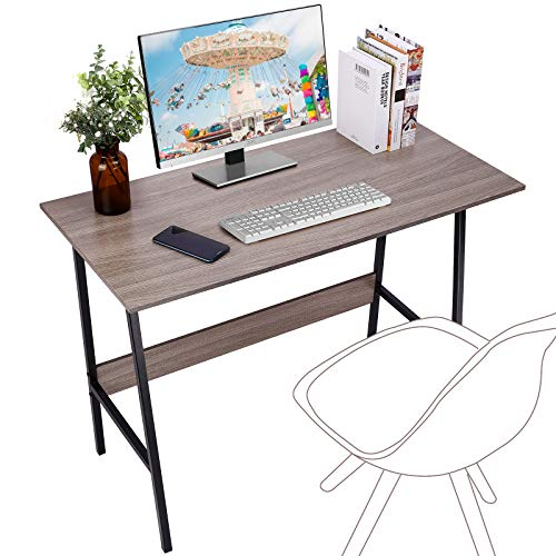 "Viewee Computer Student Desk, Easy Assembly, Laptop Study Table 39"" Home Office Writing Desk with Table Edge Protectors, Sturdy Desk with Trapezoidal Structure & Wood Block Support, Sand Wash Tan"