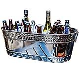 BREKX Colt Hammered Stainless Steel Silver Party Beverage Tub & Wine Bucket- 17 Quarts