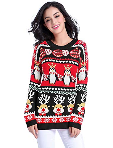 v28 Ugly Christmas Sweater for Women Vintage Funny Merry Tunic Knit Sweaters (X-Small, Black)