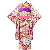 [京のみやび]七五三 女の子着物セット 7才向け四つ身(120cm) 花流水 ピンク